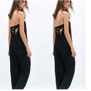 Strapless open back jumpsuit, black
